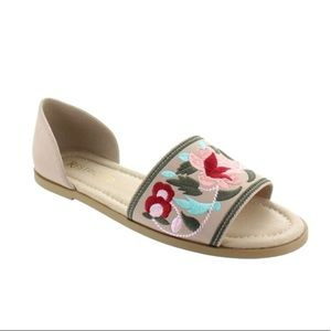 Restricted Floral Embroidery Flat Sandal